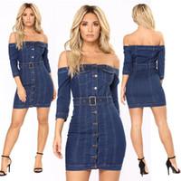 Mavi Yıkanmış Denim Elbise Kadın Kapalı Omuz Düğmesi Bodycon Jean Mini Elbiseler