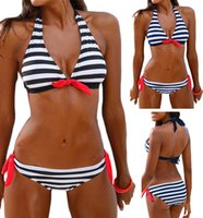 Sexy Women Bikini Set Striped Print Swimwear Padded Halter S...