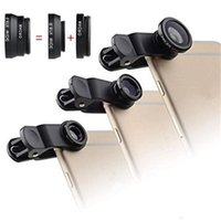 3 in 1 Universal Metal Clip Camera Lens per cellulare Fish Eye + Macro + Grandangolo per iPhone 7 Samsung Galaxy con confezione KKA1133