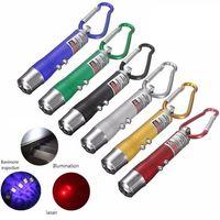 3 in1 الصمام ضوء الأشعة فوق البنفسجية مضيا سبائك الألومنيوم الأحمر مؤشر الليزر الشعلة البسيطة مع سلسلة القلم كيرينغ دي إتش إل الحرة