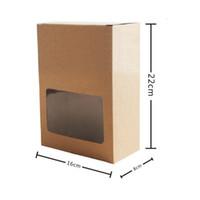 22 * 16 * 8 CM Kraft Kağıt Kutusu Ile Temizle Pencere Fırın Kek Kurabiye Şeker Hediye Ambalaj Kutusu Karton Kutu QW8432