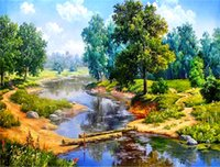 Diamond embroidery landscape forest lake diy diamond paintin...