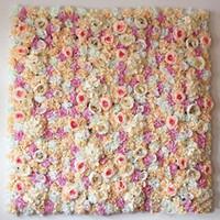 10 قطعة / الوحدة 64 * 40 سنتيمتر رومانسية الزفاف زهرة الجدار للمرحلة أو خلفية الزفاف الاصطناعي روز الديكور كوبية زهرة