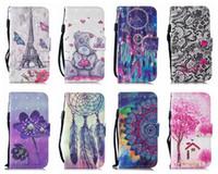 Cassa da portafoglio in pelle 3D fiore Eiffel Tower per iPhone 12 Mini 11 XR XS XS Max X 10 8 7 6 6 SE 5S Scheda Slot ID Bear Tree Dreamcatcher Flip Cover