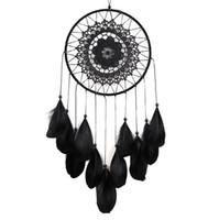 Fatto a mano in pizzo Dream Catcher circolare con piume Hanging Decoration Ornament Craft regalo all'uncinetto bianco Dreamcatcher Wind Chimes GA122