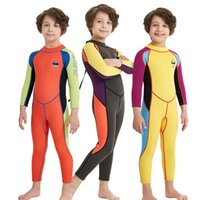 2.5MM Niños One Piece Long Sleeve Back Zip Buceo Traje de neopreno Kids Boys Girl traje de natación
