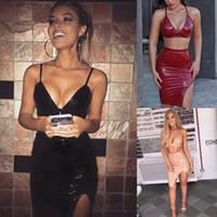 Nowe Kobiety 2 Sztuka Mini Sukienka Błyszczące PVC Bodycon Pasek Top Split Spódnica Garnitury Patent Skórzany Party Klub Seksowny Spódnicy Zestawy