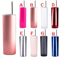 20oz skinny vacuum tumblers straight water cups with straws ...