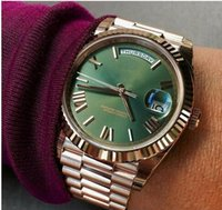 Free shipping luxury mens watch Green face rose gold Stainle...