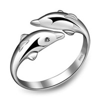2018 dolphin design ring jewelry silver color 3D double cute...
