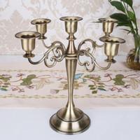 Portavelas de metal Boda 5 brazos / 3 brazos Soporte de candelabro Candelabro Centro de mesa Candelabro Decoración Artesanía Plata / Oro