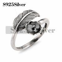5 Pieces Vintage Design Feather Ring Findings 925 Sterling S...