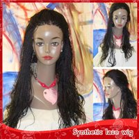 Wholesale Cheap Box Braids Wigs with Baby Hair Heat Resistan...