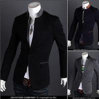 MYAZHOU 2018 Sonbahar ve Kış Sıcak Yeni Erkek Moda İnce Bir Düğme Casual Erkek Katı Renk Suit Standı Yaka Ceket