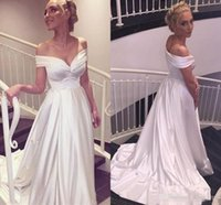 Simple Cheap Wedding Dresses Off The Shoulder A Line Satin B...