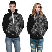 Mode Männer Frauen 3d Sweatshirts Acryldruck Wilder Löwe Schwarz Dünne Herbst Winter Mit Kapuze Hoodies Pullover Tops