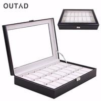 OUTAD Ataúd 24 la red de reloj del cuero Negro Caja de Cristal del caso del almacenaje del sostenedor del organizador de pulsera clásico almohada de espuma