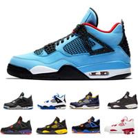 online retailer 6d501 ebae8 2018 hombres 4 zapatos de baloncesto Militar Travis Scotts Raptors azul  Alternativo 89 Puro dinero Cemento