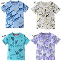 24 Arten Kinder Kleidung Mädchen Junge Kinder aus 100% Baumwolle Kurzarm Sharlk Dinosaurier Einhorn Druck-T-Shirt Junge Mädchen kausaler Sommer T-Shirt