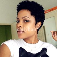 100 Perruques de Cheveux Humains Brésiliens Style Bob Courte Demi Perruques Coiffures Couper Full Lace Pixie Perruques de Cheveux Humains pour les Femmes Noires Vente Chaude