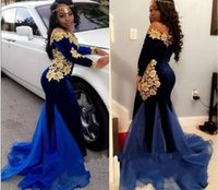 Gold Appliques Mermaid Prom Dresses Long Sleeves Off The Sho...