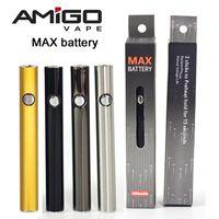 Vape Pil Orijinal Amigo Maksimum Önceden Pil 380mAh 510 Konu Pil Değişken Gerilim Alt USB Şarj Vape Kalem Yağ Kartuşları Vapes