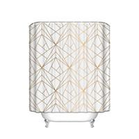 CHARMHOME Benutzerdefinierte Geometrische Gold Line wasserdicht Polyester Duschvorhang Badezimmer-Dekor Vorhänge mit 12 Haken Big Size