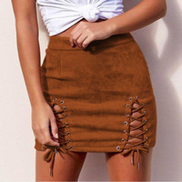LOSSKY Women' s Mini Skirt 2018 Casual New Suede Bandage...
