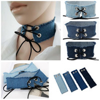 Gothic Lace Up Choker Blue Denim Choker Necklace for Women P...