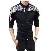 Camisa de Tuxedo de alta Qualidade Dos Homens 2018 Verão Impressão Digital Patchwork Camisas Sociais dos homens Vestido Slim Fit Night Club Camisas Do Partido homem