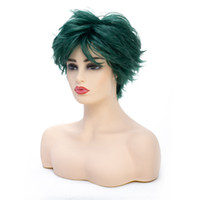 6 Inch Short Wave Syntheic Hair Wig Green with Highlights Fu...