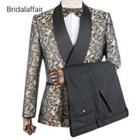 Gwenhwyfar Örgün Ismarlama Damat Smokin Çiçek Baskılı Slim Fit Erkekler Suit Set Düğün Balo Erkek 2 Adet Suits (Ceket + Siyah Pantolon)