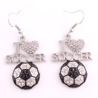 "Fans Favorite Sports Jewelry Drop Shipping 0.95""*1.3"" inches I Love Soccer 2D Crystal Pendant French Hook Earrings"