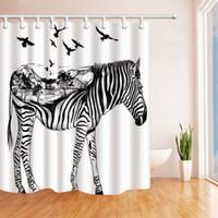 Moderne Zebra Cat Bad Wasserdicht Vorhang 3D Polyester Stoff Duschvorhang mit 12 Haken Für Mildewproof Badezimmer Dekor 180 cm * 180 cm