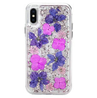 Defender Case with Real Flower For iPhone X 7 8 Plus 6 6S Pl...