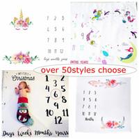 Oltre 50 stili Scegli unicorno Cartoon Ins Baby Milestone Coperta Bambina Bambina Tribal Blanket Baby Shower Regalo Fotografia Fotografia da studio Puntelli 100cm