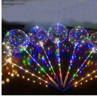 Palloncini BOBO Clear a led Palloncino luminoso a bolle di elio con gambo a mano 3m LED Decorazioni per compleanno per bambini Forniture per feste