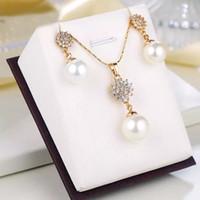 (216S) Гладкий Большой Жемчужный Кулон Ожерелье и Серьги Ювелирные Наборы Для Elgant Женщины ПР стиль 18 К Позолоченные Высокое Качество