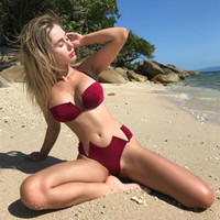 Bikini swimsuit new ladies solid color swimsuit V- shaped ste...