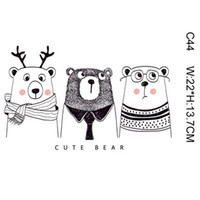 Naaiende noties Tools Kid Magic Sticker Cartoon Bear Lieve Dier DIY Stickers voor T-shirt Grappige Patches Iron-On Transfers Kleding