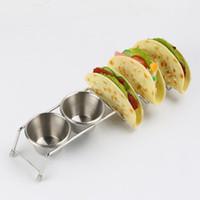 Нержавеющая сталь мексиканская пицца еда стенд тако держатель стойки еды с двумя чашками кухня пирог инструмент аксессуары QW7486