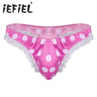 iEFiEL Newest Mens Lingerie Moda maschile Shiny Satin Low Rise High Cut Ruffle Lace Polka Dots Bikini G-String Perizoma intimo