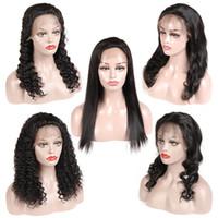 人間の髪のレースのフロントかつらプリプットブラジルのバージンヘアウィッグストレートボディウェーブルースウェーブ深い波キンキーカーリーナチュラルカラー