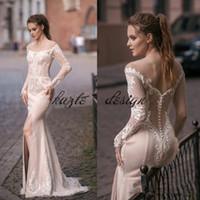 밀바 우아한 인어 웨딩 드레스 어깨 긴 소매 고품질 레이스 사이드 스플릿 바닥 길이 맞춤형 국가 신부 가운