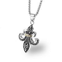 Mode designer män blomma hänge halsband rostfritt stål kedja enkla herrar silver färg smycken punk halsband kvinnor