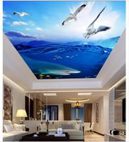 Personalizado Grande Mural Do Teto Papel De Parede Belo mar tubarão gaivota zenith teto mural Paisagem Foto Teto papéis de parede de Decoração Para Casa