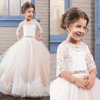 SOLOVEDRESS Ivory White Lace Flower Girls Dresses 2017 Ball ...