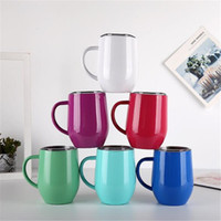 5PCS Egg cup wine glass mug 12oz with handle stainless steel...