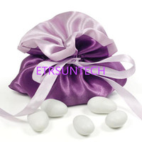 Hermosa Purple Satin Wedding Bride Dama de honor Dolly Candy Bag Jewelry Gifts Bag Party Supplies Envío gratis QW7812
