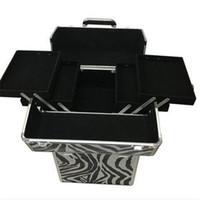 Ventas al por mayor 3-en-1 Draw-bar Box Design Portable Leopard Grain Maquillaje Maletín Blanco Storage Boxes Bins